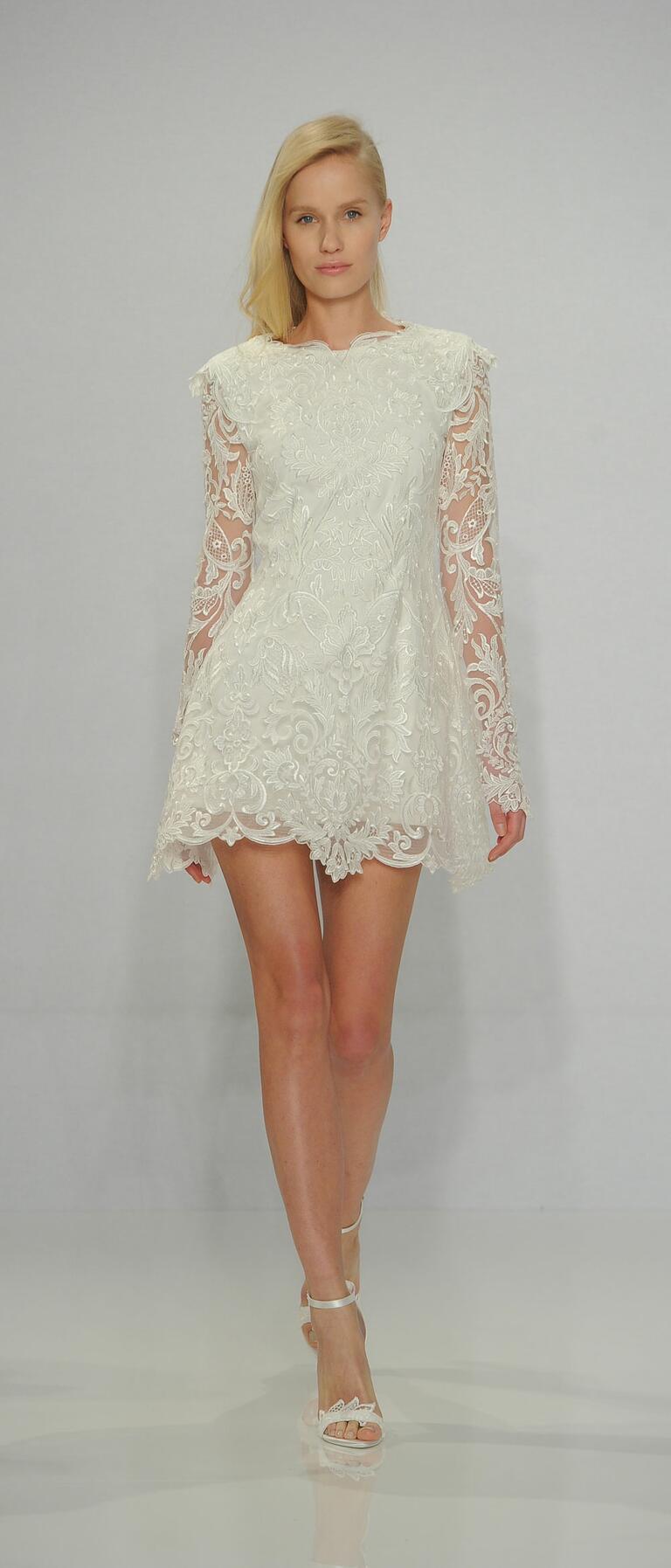 Christian Siriano Spring 2017 long sleeve lace mini wedding dress