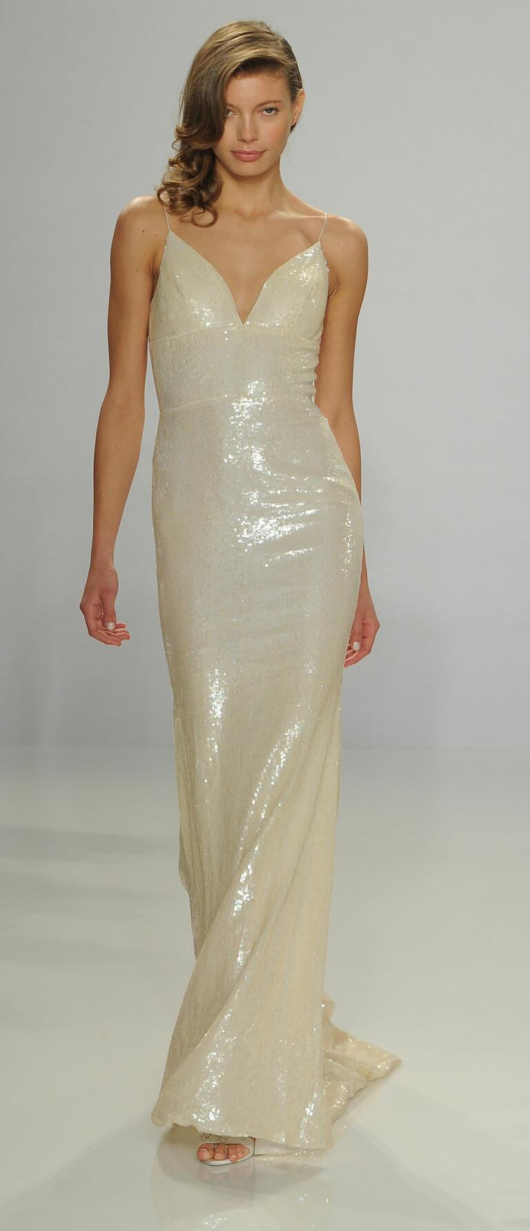 Christian Siriano Spring 2017 ombré sequin slip wedding dress