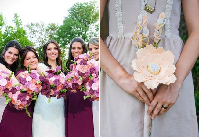 Flower Bouquet Alternatives // Felt Flowers // The Knot Blog