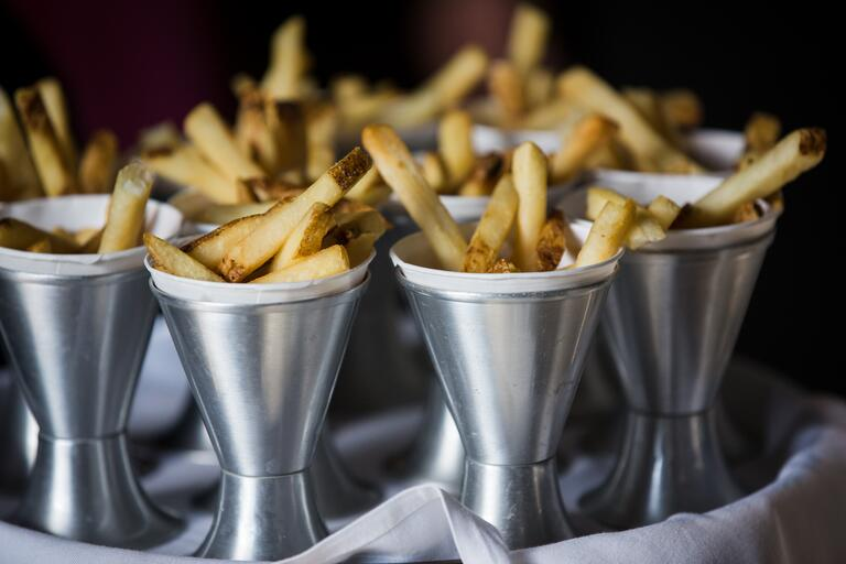 French fries passed wedding appetizers