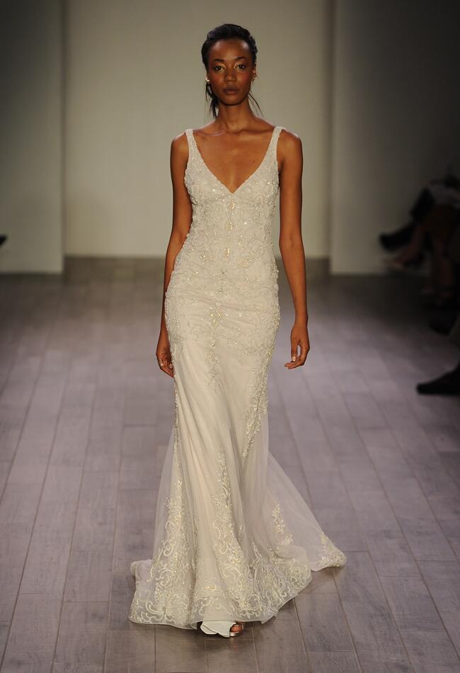 Lazaro Spring 2016 V-neckline beaded lace overlay wedding dress