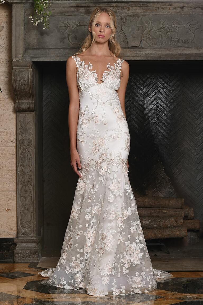 Claire Pettibone fit and flare floral lace wedding gown for Fall 2017