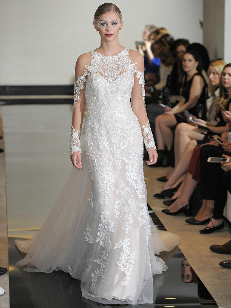Justin Alexander Spring 2018 beaded lace jewel neck wedding dress with cold shoulder, illusion lace sleeves and detachable train