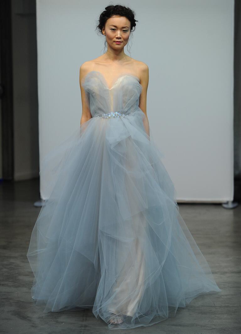 carol hannah wedding dresses bridal fashion week fall light blue wedding dress Carol Hannah Fall sweetheart neckline A line blue tulle wedding dress