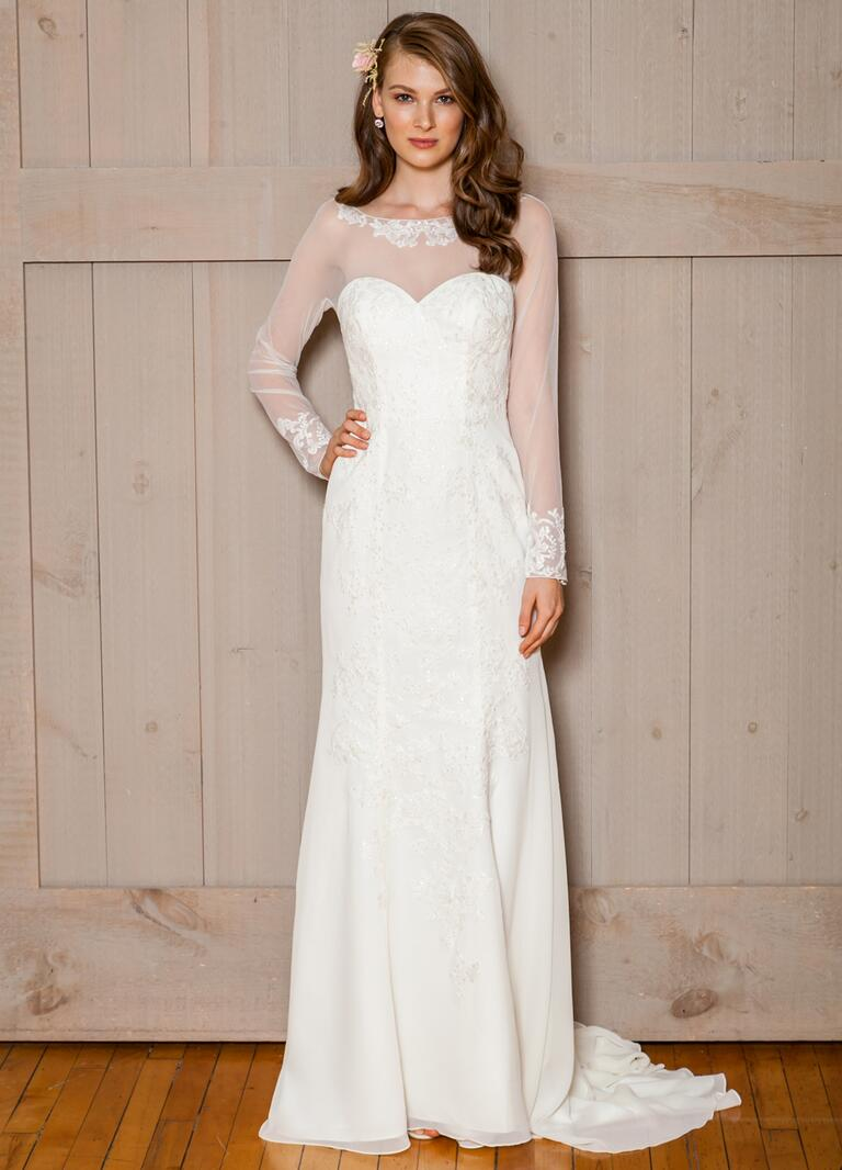 David's Bridal Fall 2016 mesh long sleeve wedding dress with beading and sweetheart neckline