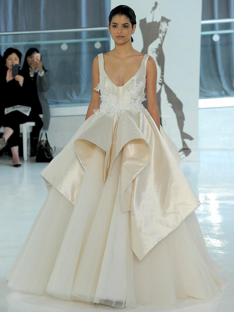 Peter Langner Spring 2018 champagne wedding dress with layered satin and tulle skirt