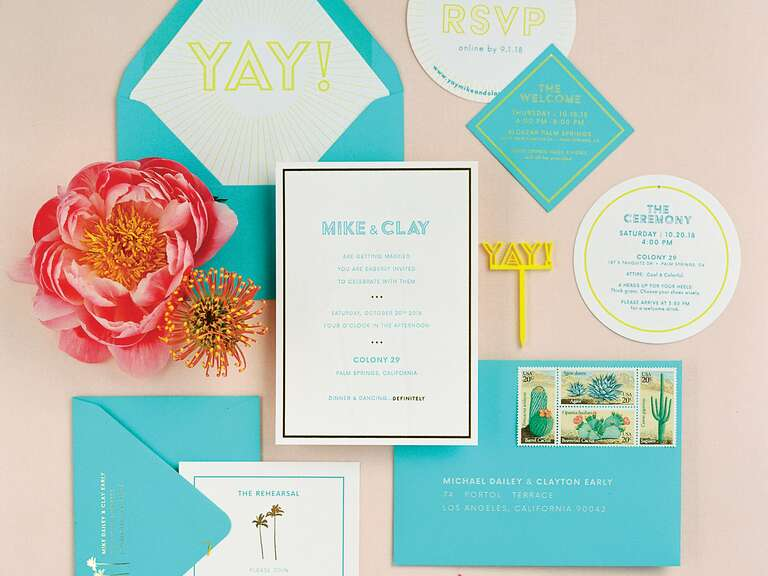 Bright wedding invitation suite
