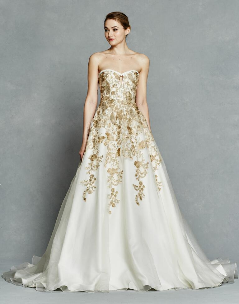 Kelly Faetanini Spring 2017 strapless gold embroidered ball gown with cutout detail