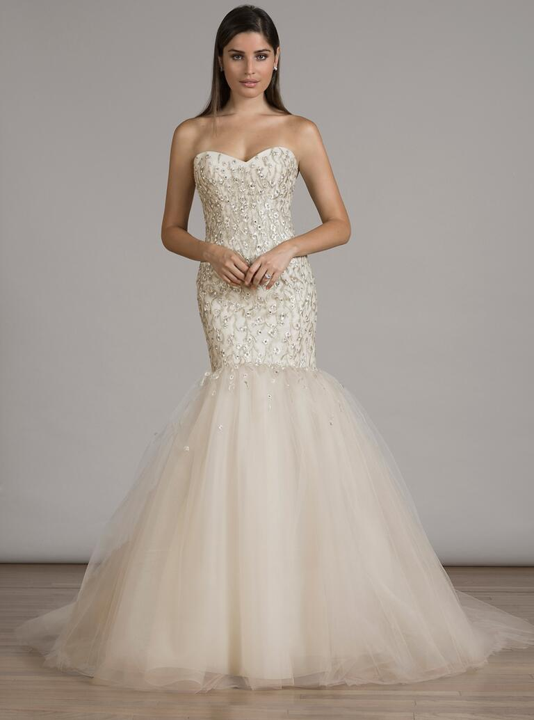 liancarlo champagne drop waist wedding dress with grand tulle skirt