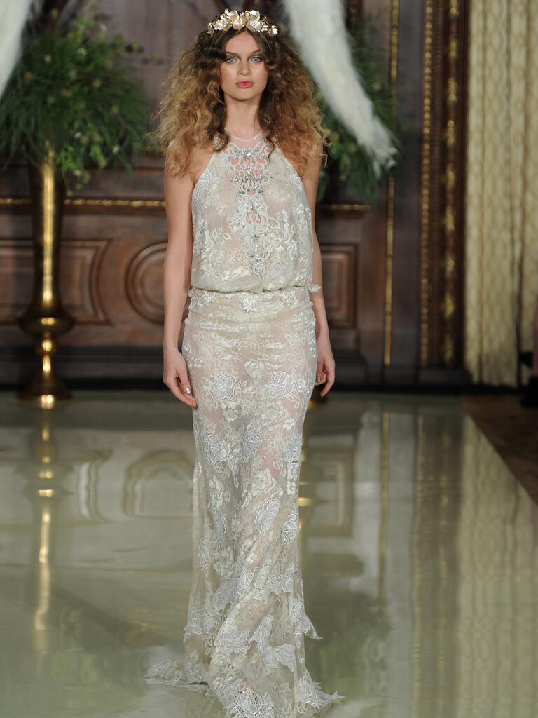 Galia Lahav embroidered two-piece sheer wedding dress with front split from Spring 2016