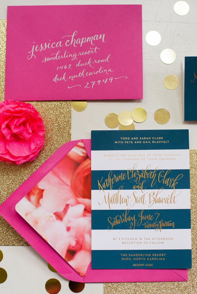 Fuchsia, navy and gold wedding stationery