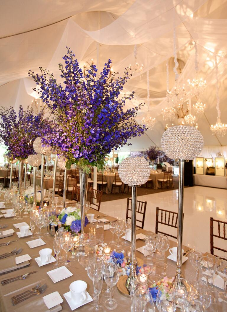 Tall delphinium reception table centerpieces