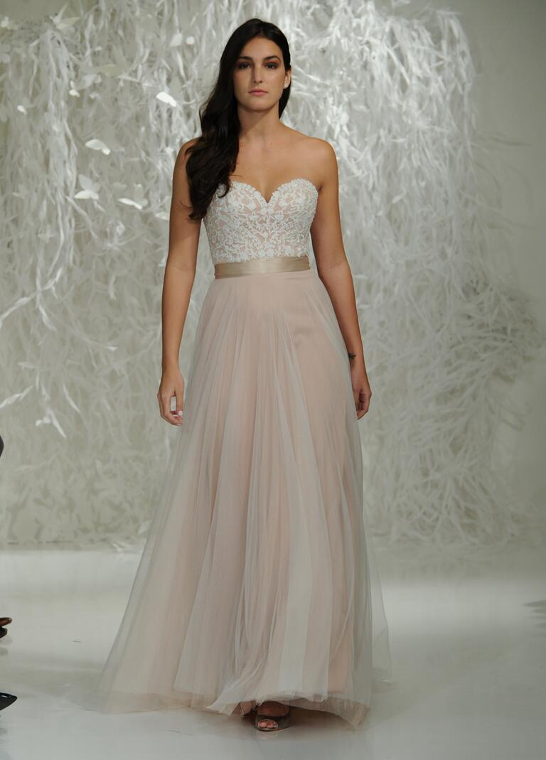 Wedding Watters Wedding Dresses watters fall 2016 collection wedding dress photos strapless sweetheart neckline pink with white lace applique