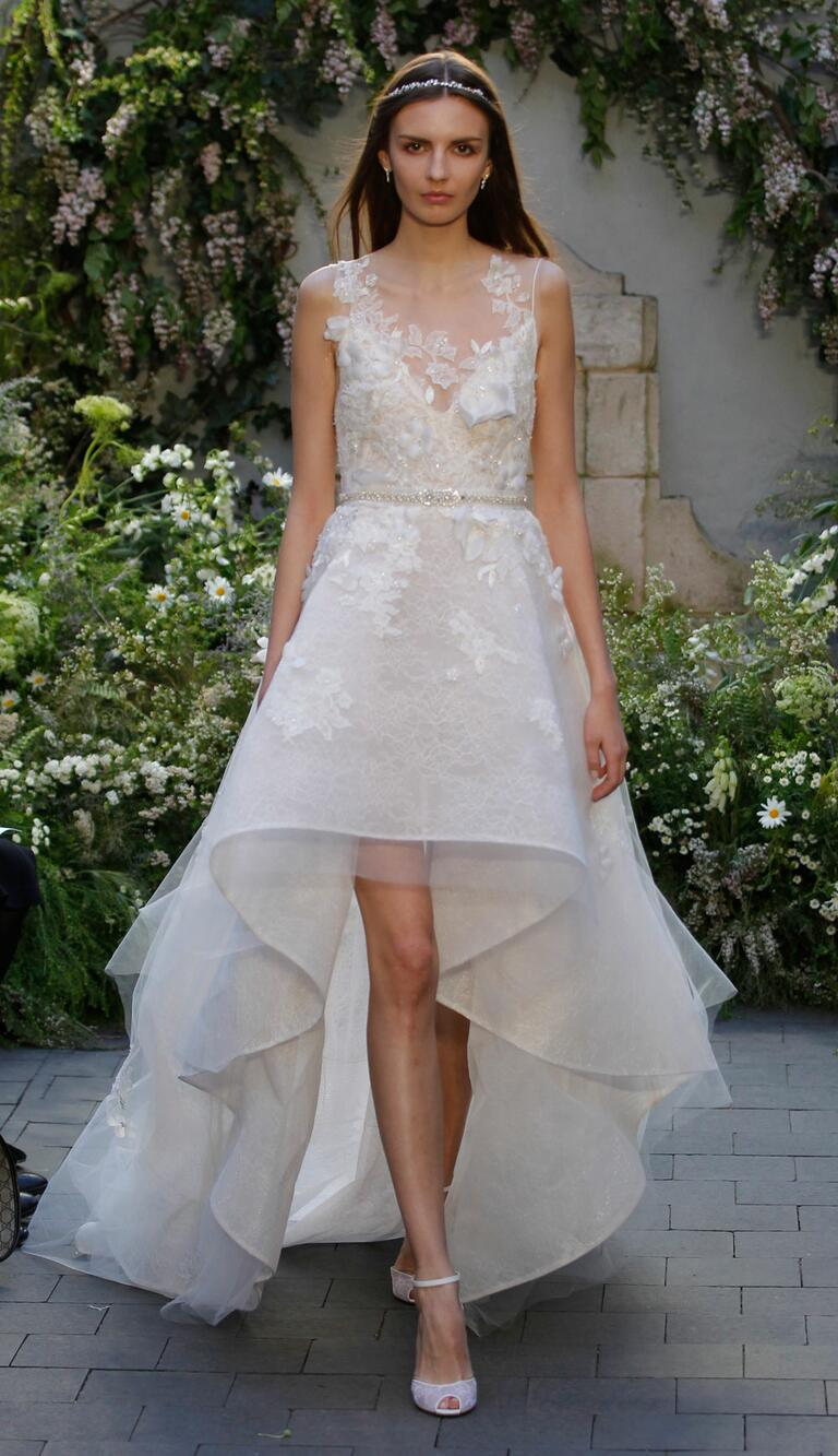 wedding dresses with high low skirt hi low wedding dress Monique Lhuillier Spring Collection Bridal Fashion Week Pos Hi Low