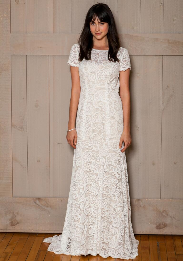 David's Bridal Fall 2016 lace overlay short sleeve sheath wedding dress