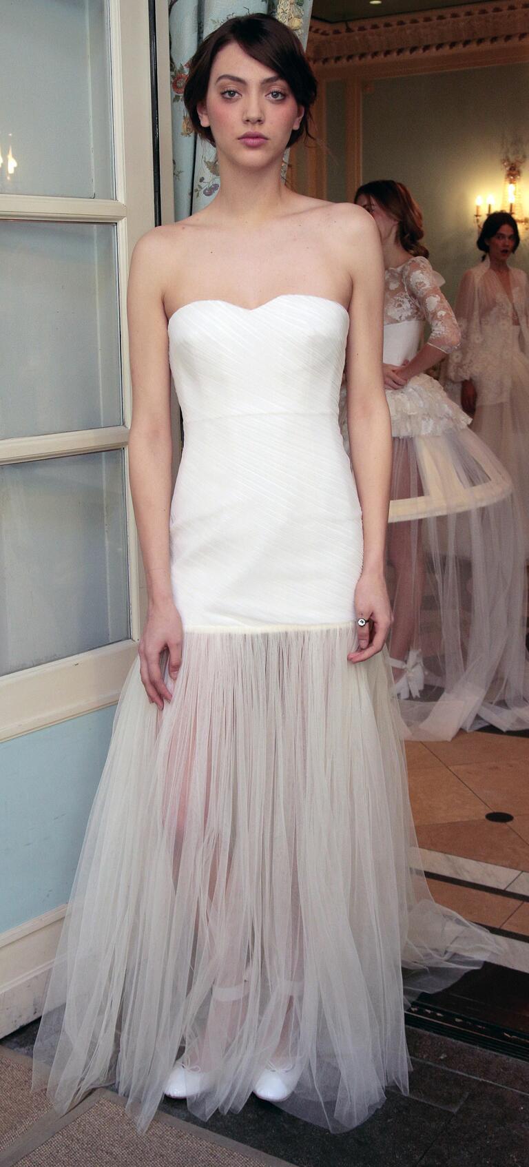 Delphine Manivet Spring 2017 strapless drop waist wedding dress with sheer skirt