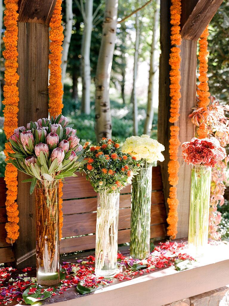 Hanging floral garlands for a festive wedding