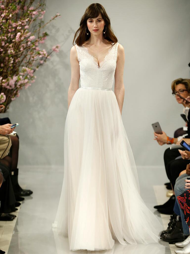 Theia Spring 2018 blush cap sleeve Chantilly lace bodice wedding dress