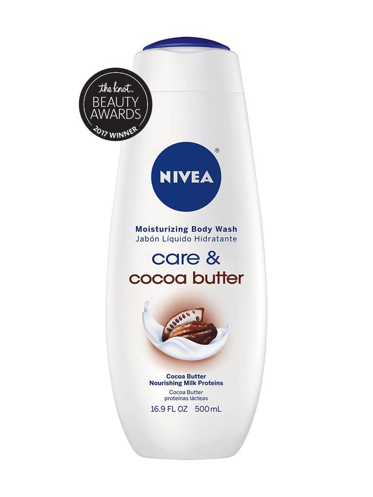 The Knot pick for best body wash is the Nivea Cocoa Butter moisturizing body wash