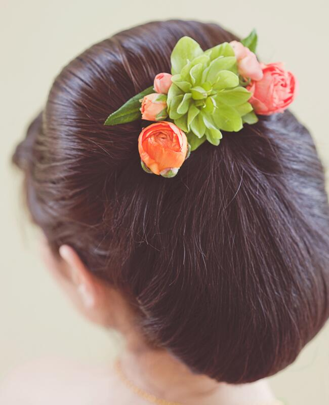 Updo with Succulents and Ranunculuses