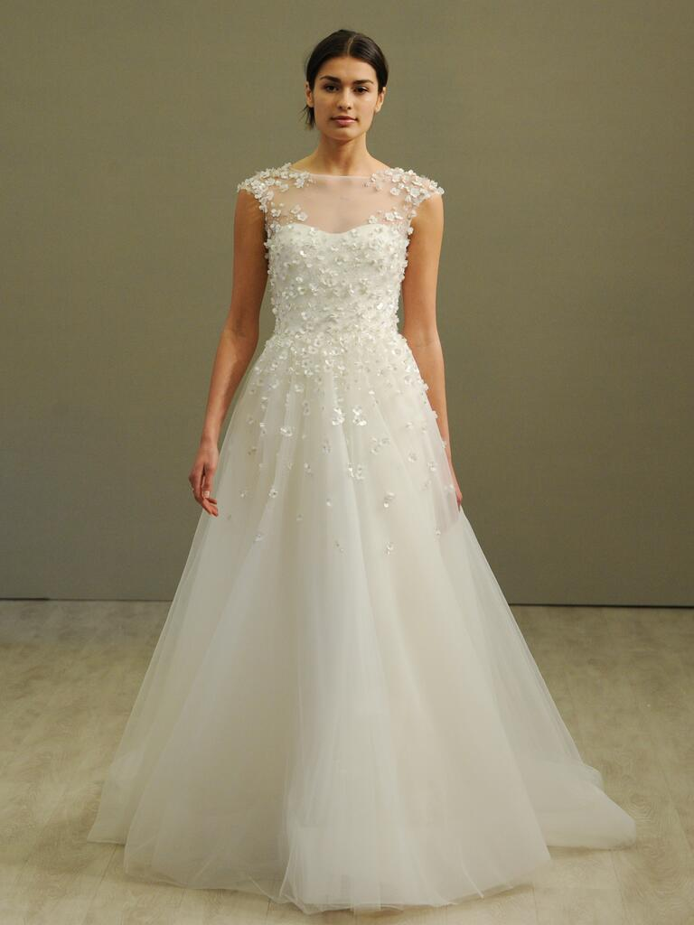 jim hjelm wedding dresses bridal fashion week spring wedding dresses Jim Hjelm ivory tulle floral sequined embroidered ball gown wedding dress from Spring