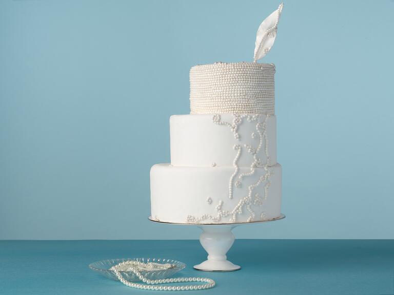 All-white three tier wedding cake