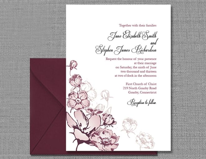European Fl Wedding Invitation Template