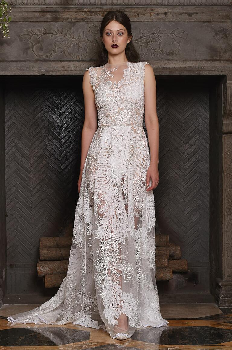 Claire Pettibone sheer wedding gown with lace detailing and sequin embellishments for Fall 2017