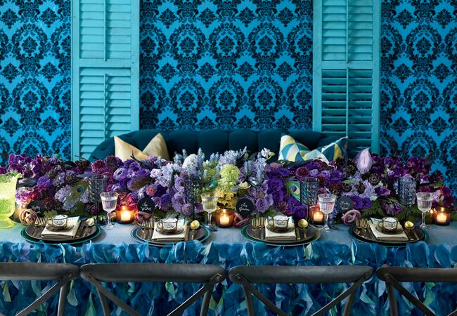 Edgy jewel-tone reception table decor | Philip Ficks | blog.theknot.com