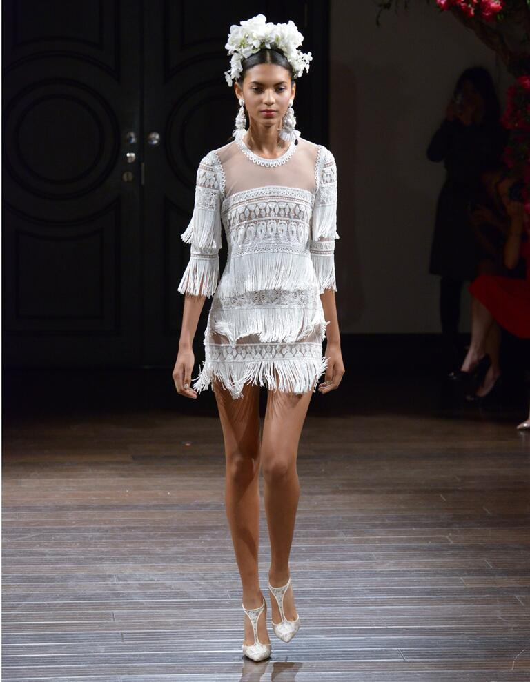 Naeem Khan Fall 2016 fringed mini wedding dress with illusion neckline and sleeves