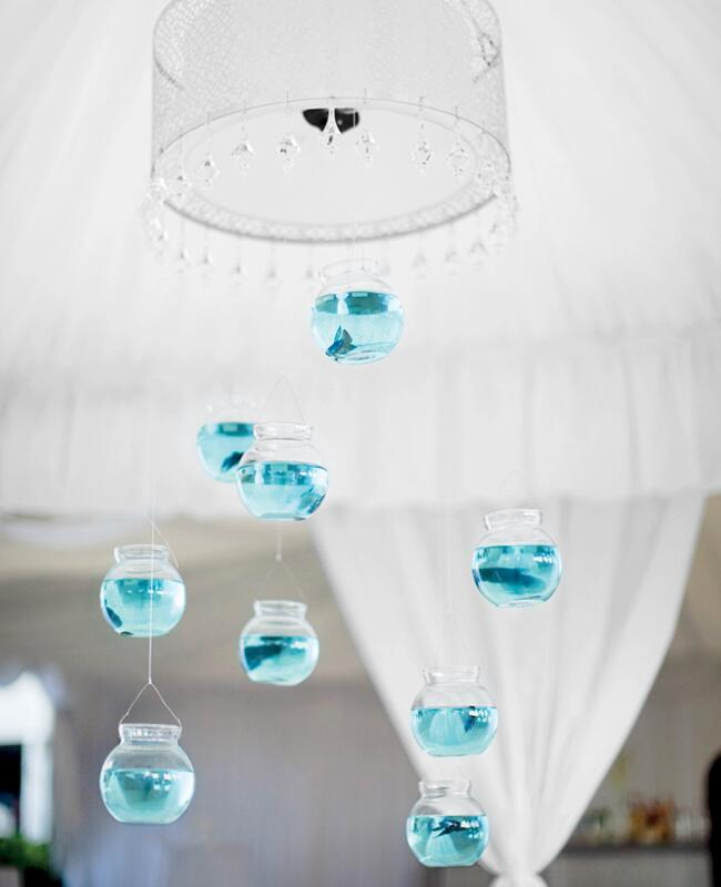 Hanging glass globe wedding decor: Millie Holloman Photography / TheKnot.com