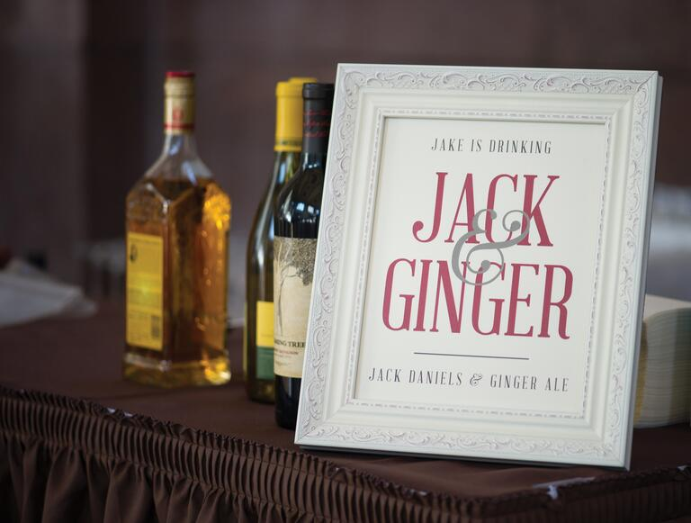 Jack and Ginger bar sign for wedding reception