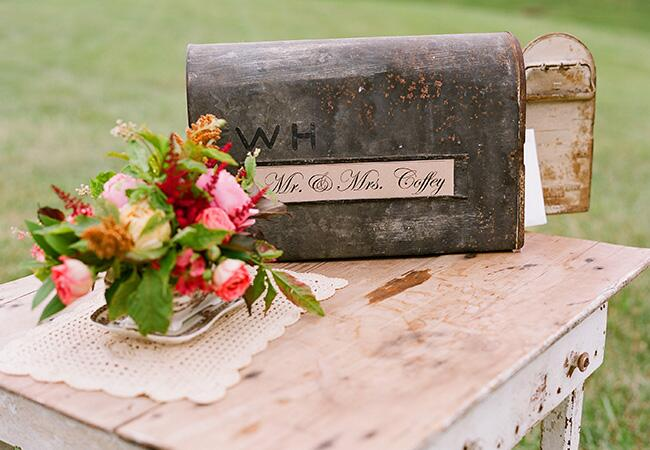 vintage mail box card box | Jen Fariello Photography | blog.theknot.com