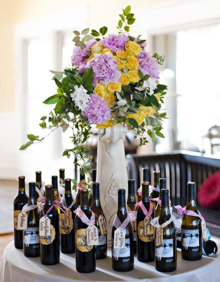 Wine bottle escort cards
