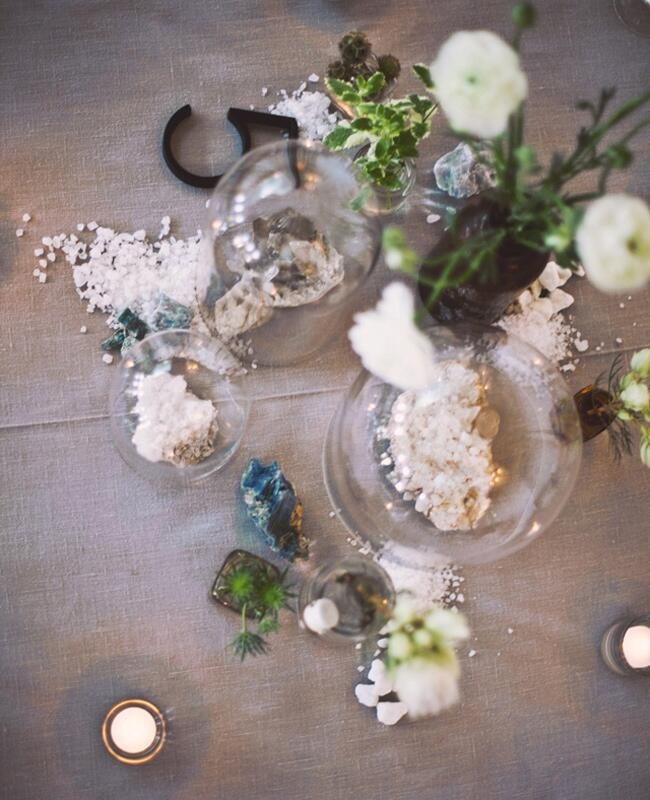 Terrarium Covered Geode Centerpieces