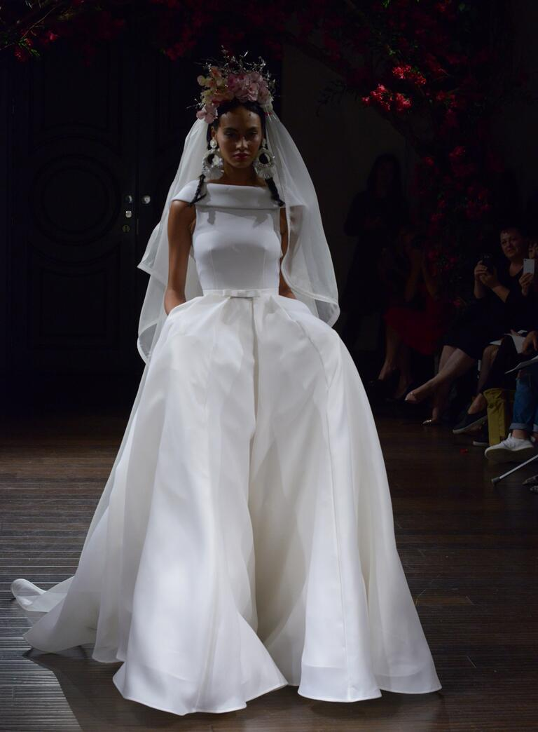 Naeem Khan Fall 2016 white ball gown wedding dress with bateau neckline