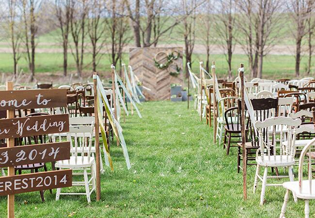 Mint Color Outdoor Ceremony Decorations: A Rustic Mint And Gold Wedding -- See The Photos