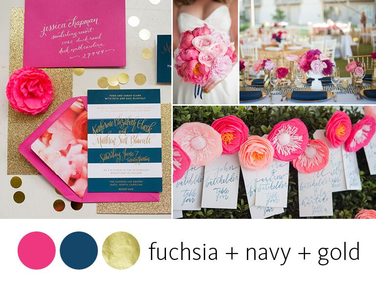 color crush fuchsia navy and gold