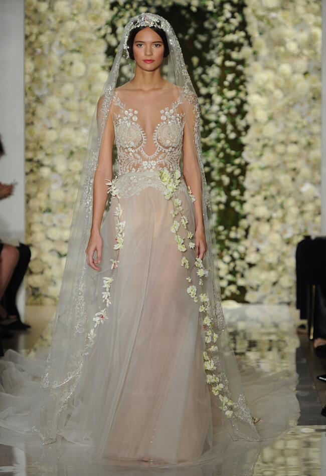 Reem acra featured sheer crop top wedding dresses and full for Reem acra lace wedding dress