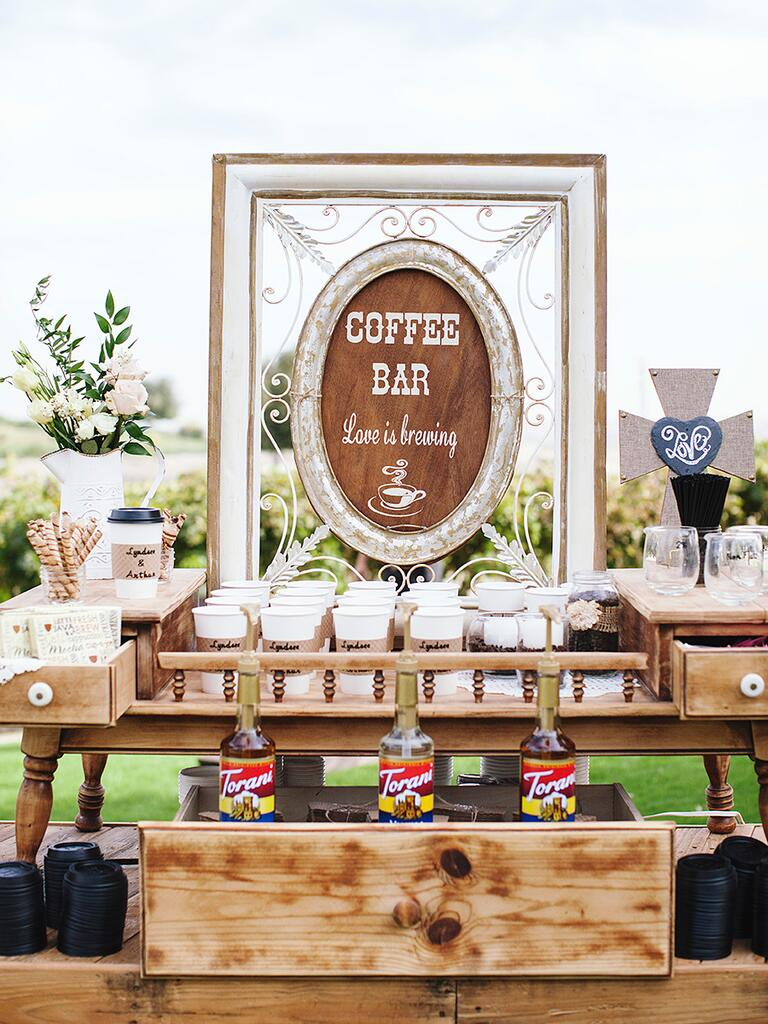 Coffee bar idea for a wedding reception beverage station