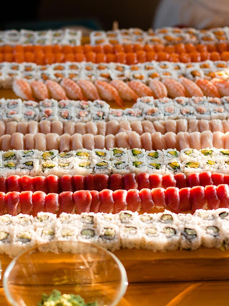 Wedding reception sushi bar food station idea