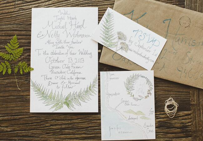 Green Leaf Motif Invitations |<img class=