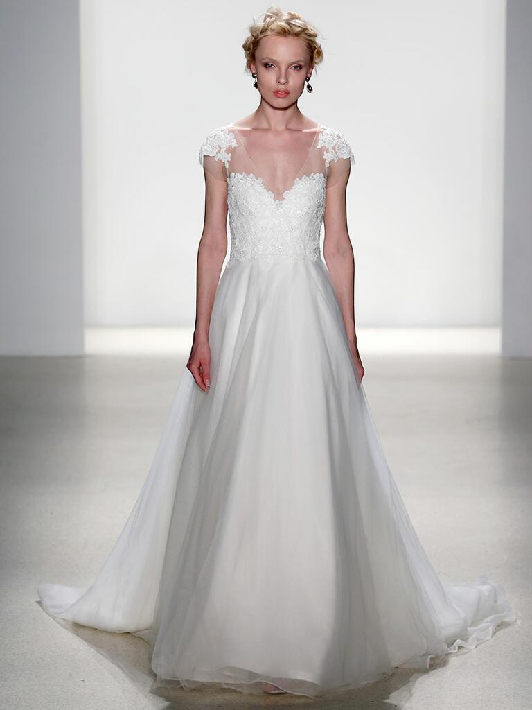 Kelly Faetanini Spring 2018 soft tulle A-line wedding dress with beaded illusion cap sleeve