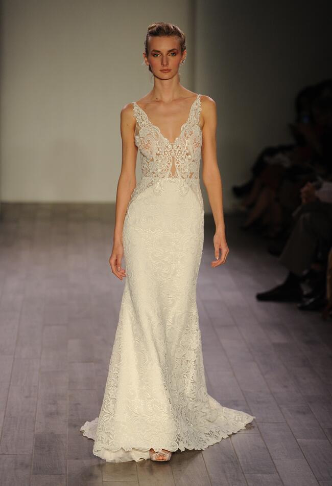 Lazaro Spring 2016 lace illusion V-neckline modified A-line wedding dress