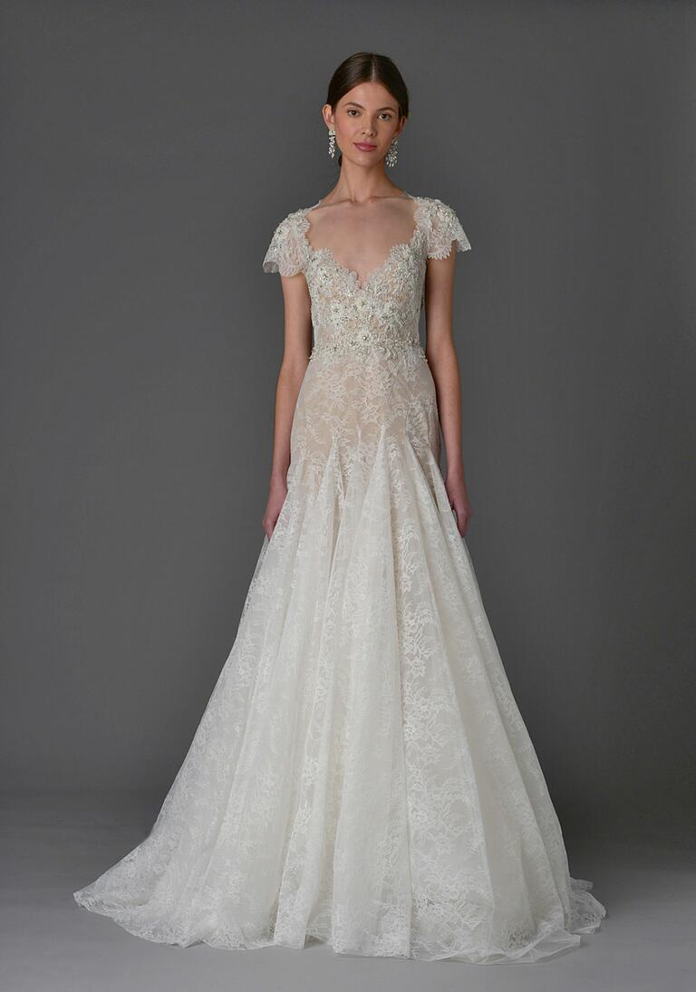 Marchesa Spring 2017 cap sleeve lace bodice wedding dress with organza skirt overlay