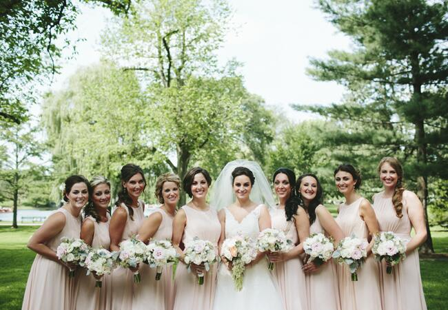 pink bridesmaid dresses | Lime Green Photography | blog.theknot.com