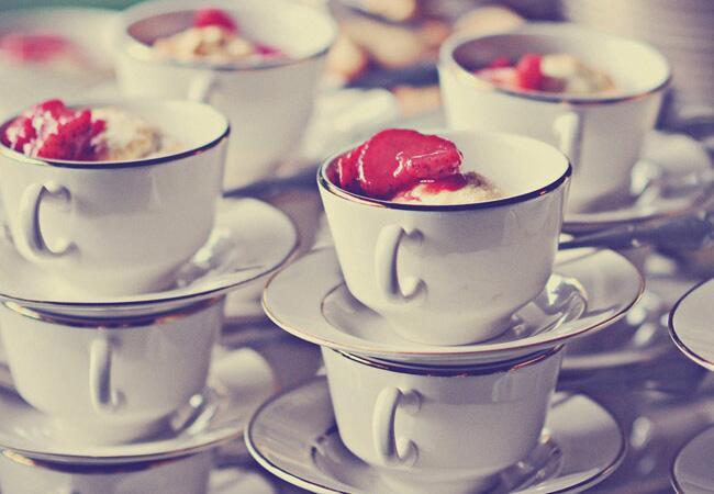 dessert in teacups |<img class=