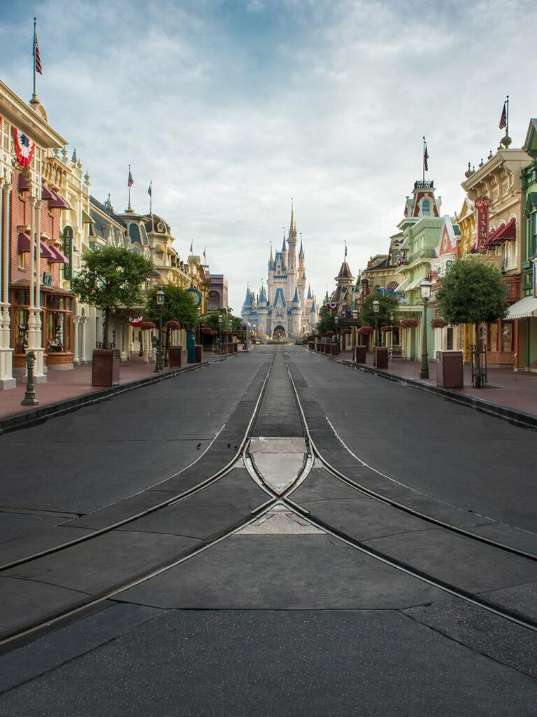 Romantic places to propose at Disney, like Main Street USA with a view of Cinderella Castle