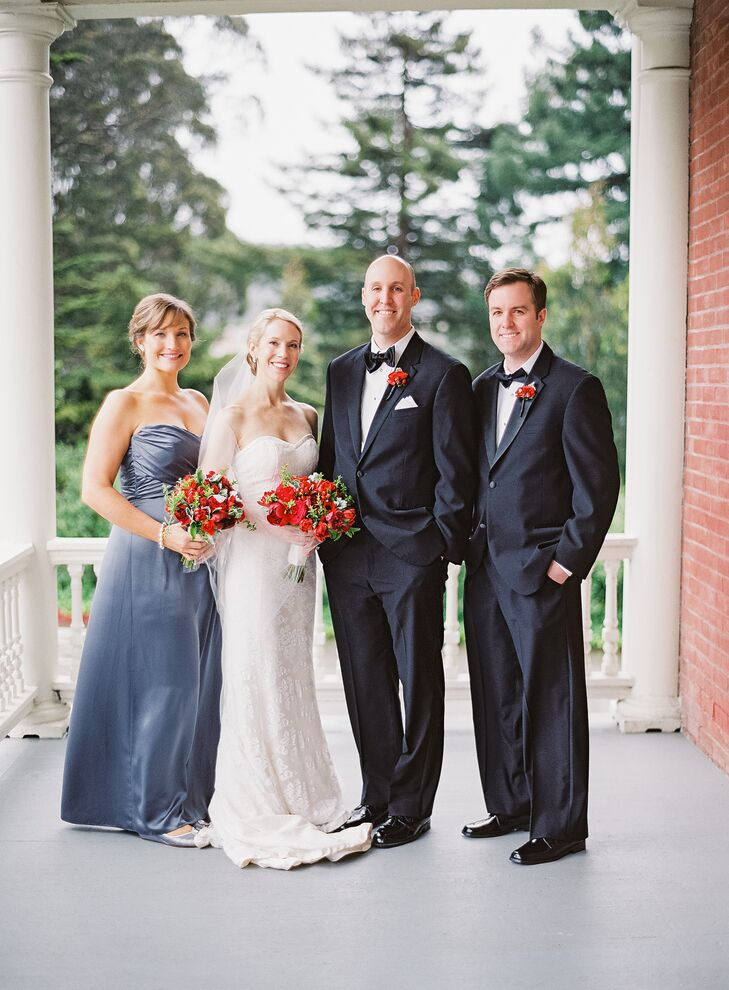 """My Matron of Honor wore an Amsale floor-length gown called Charmeuse G686H in charcoal grey,"" says Lisa. ""She wore a baroque pearl bracelet that we had given her the night before. The Best Man (Joe's brother) wore a traditional tuxedo. He wore cufflinks that we had given him the night before that were custom engraved with the Fitzgerald family crest."""