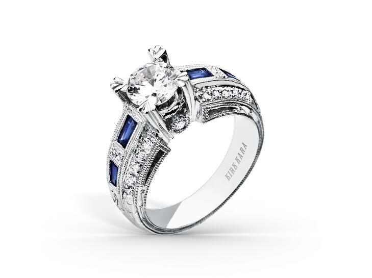 kirk kara engagement ring with sapphire accents